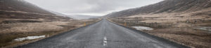 Leere Asphaltstrasse in Naturlandschaft mit grauem Himmel im Hintergrund